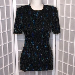 Scala beaded silk short sleeve top sequined small